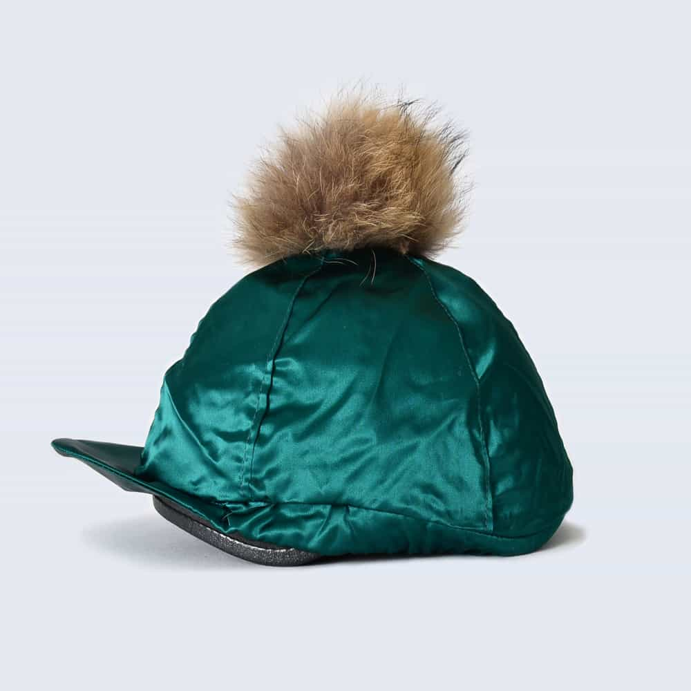 Emerald Hat Silk with Brown Fur Pom Pom