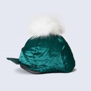 Emerald Hat Silk with White Fur Pom Pom