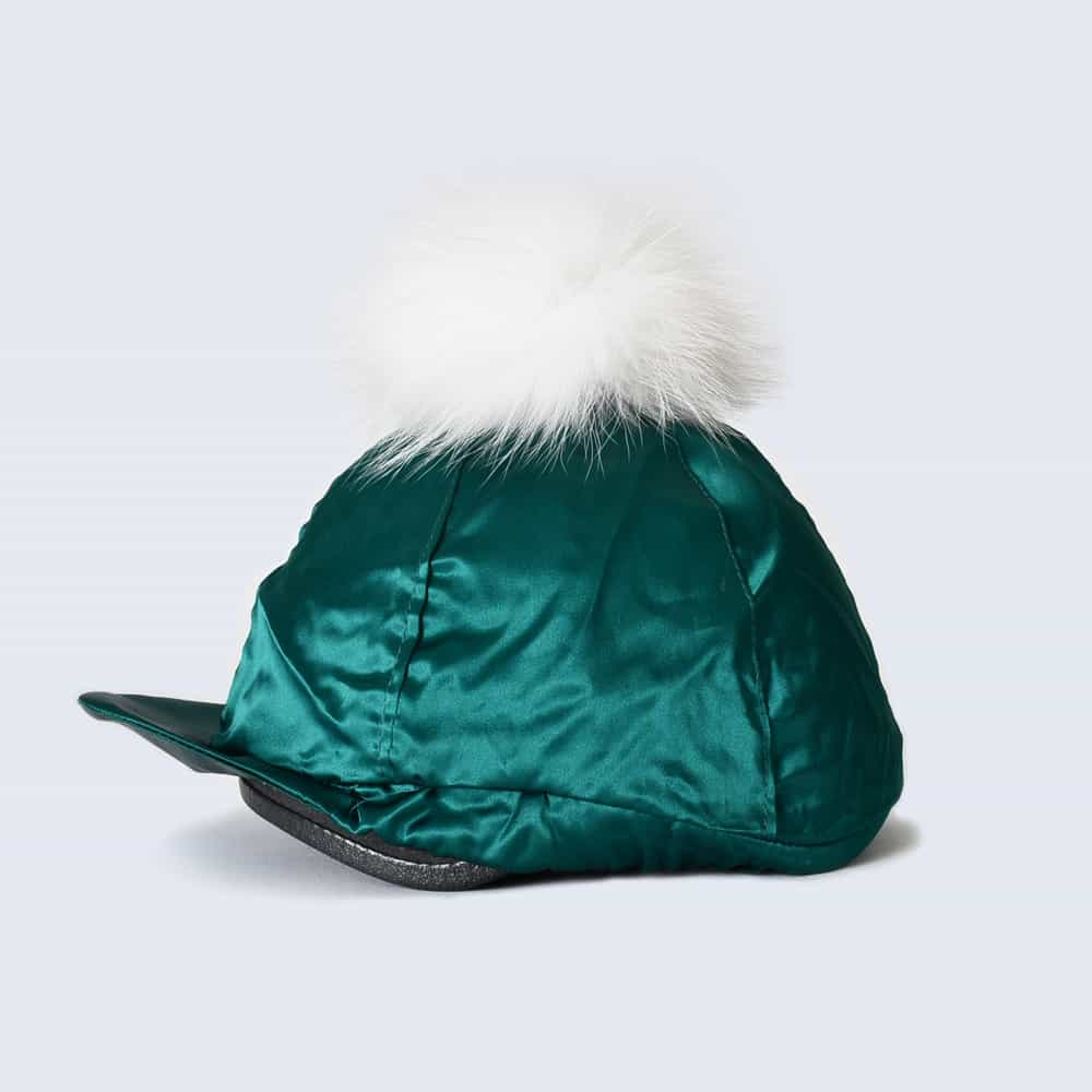 Emerald Hat Silk with White Fur Pom Pom