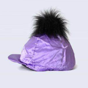 Lilac Hat Silk with Black Faux Fur Pom Pom