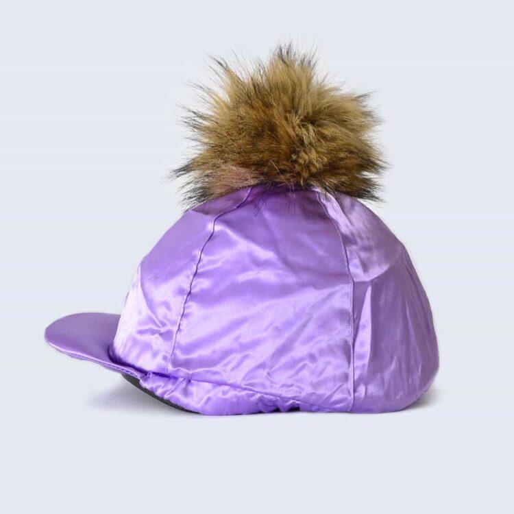 Lilac Hat Silk with Brown Faux Fur Pom Pom