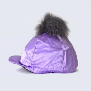 Lilac Hat Silk with Grey Faux Fur Pom Pom