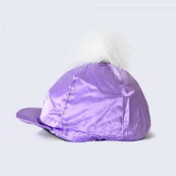 Lilac Hat Silk with White Faux Fur Pom Pom