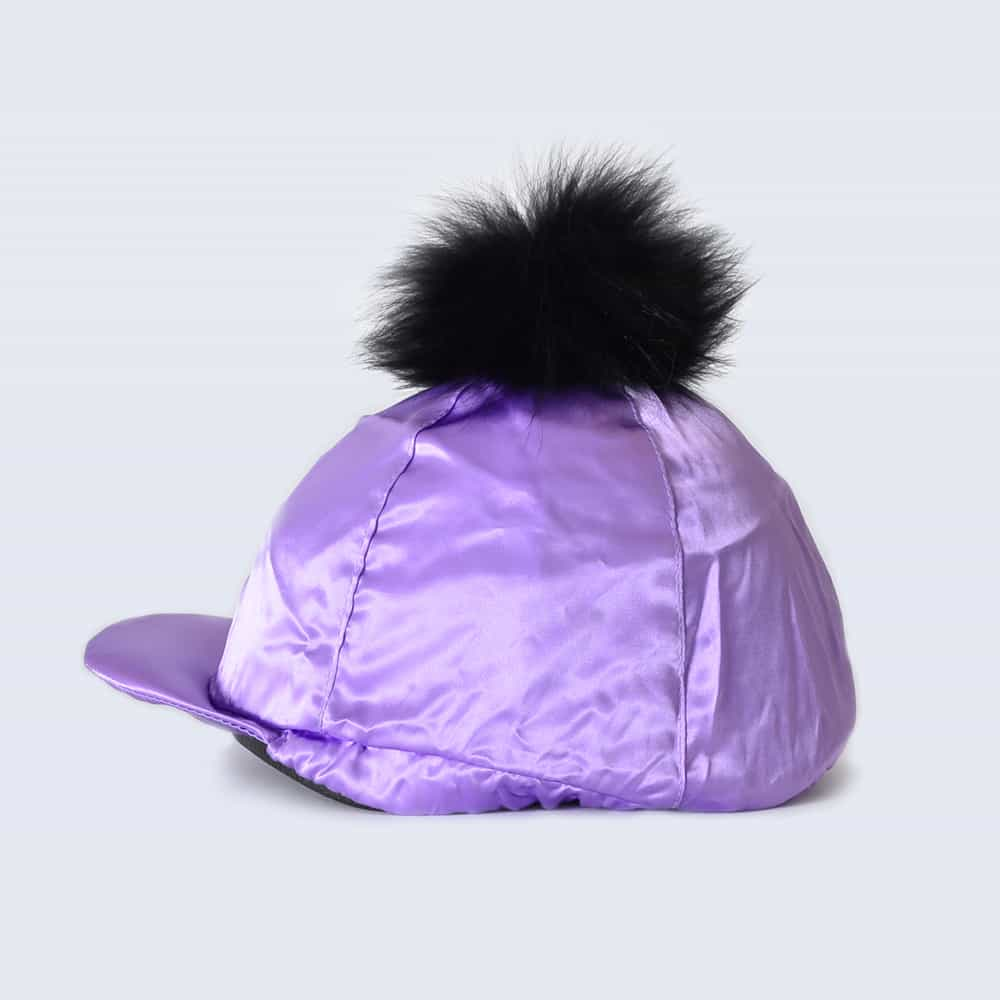 Lilac Hat Silk with Black Fur Pom Pom