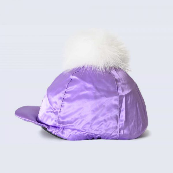 Lilac Hat Silk with White Fur Pom Pom