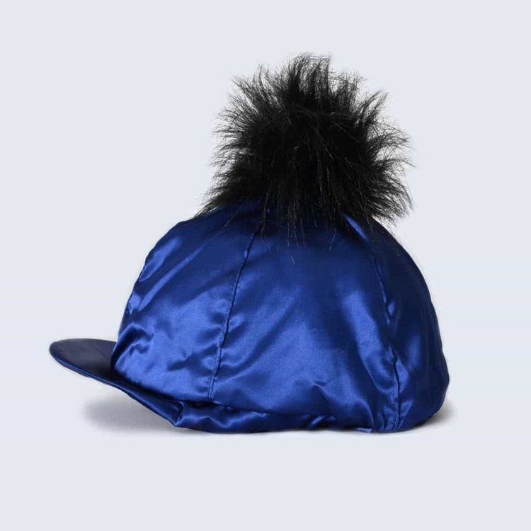 Navy Hat Silk with Black Faux Fur Pom Pom