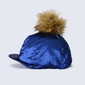 Navy Hat Silk with Brown Faux Fur Pom Pom