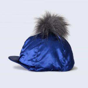 Navy Hat Silk with Grey Faux Fur Pom Pom