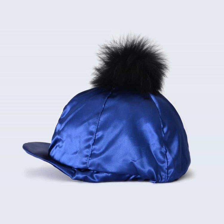 Navy Hat Silk with Black Fur Pom Pom