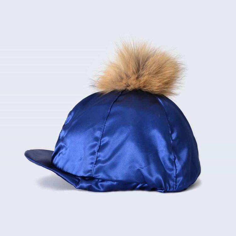Navy Hat Silk with Brown Fur Pom Pom
