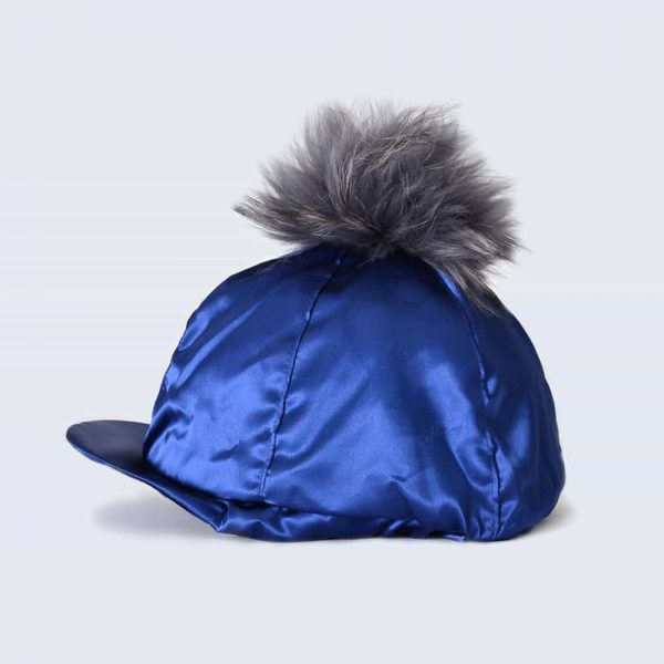 Navy Hat Silk with Grey Fur Pom Pom