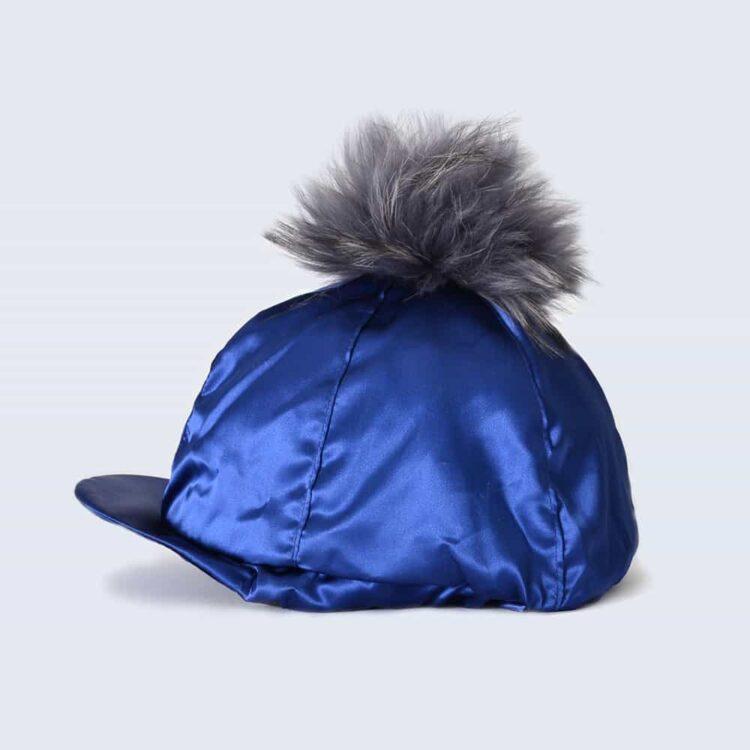 Navy Hat Silk with Grey Fur Pom Pom