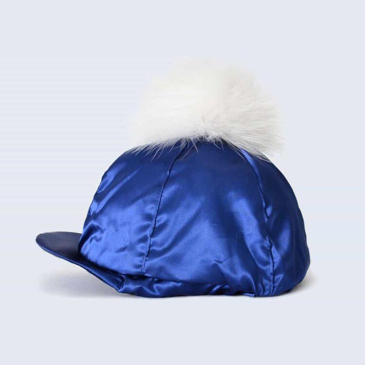 Navy Hat Silk with White Fur Pom Pom