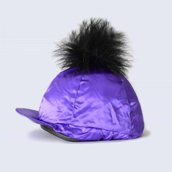 Purple Hat Silk with Black Faux Fur Pom Pom
