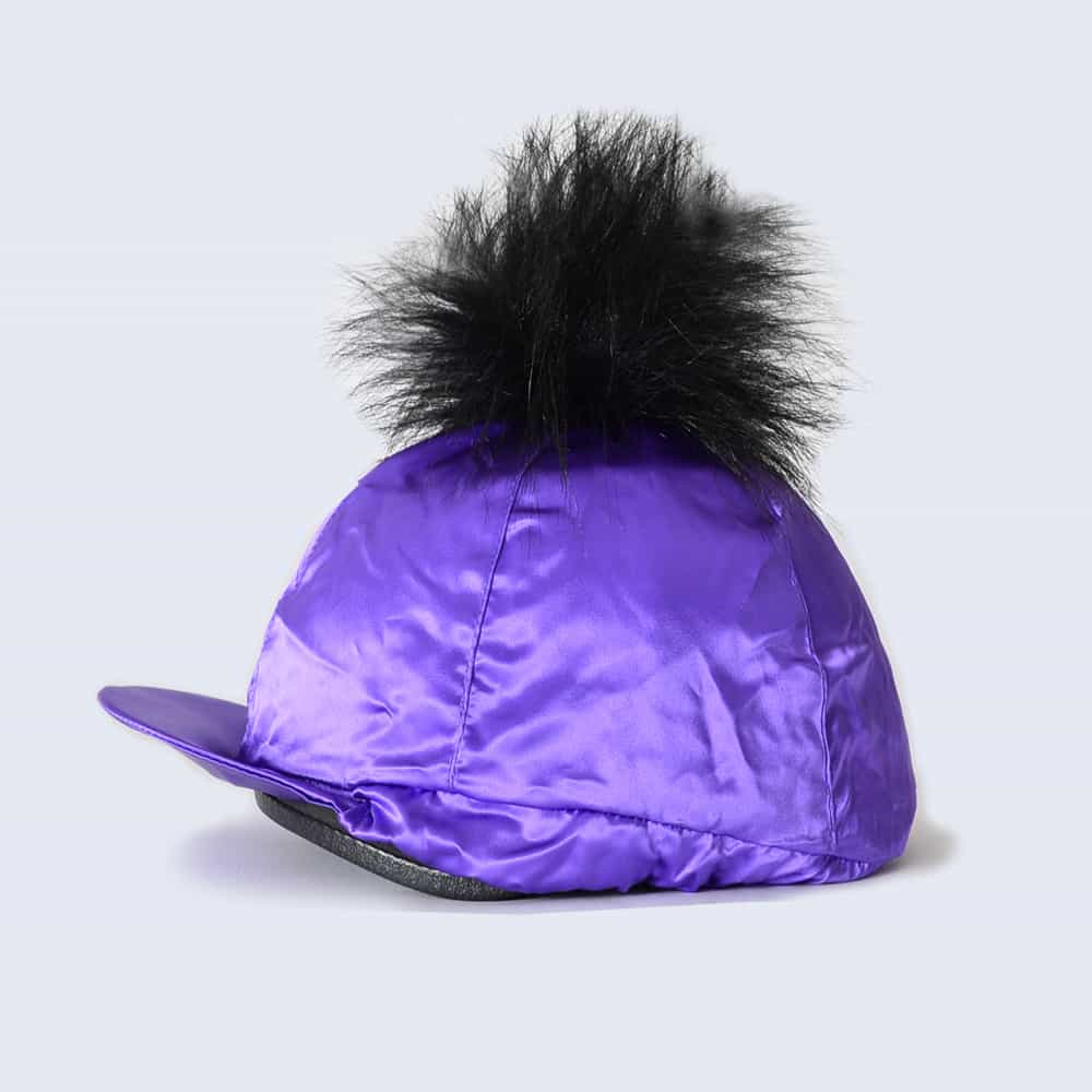 Purple Hat Silk with Black Faux Fur Pom Pom
