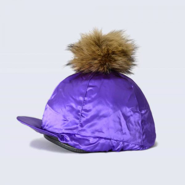 Purple Hat Silk with Brown Faux Fur Pom Pom