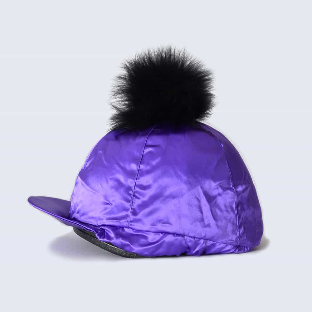 Purple Hat Silk with Black Fur Pom Pom