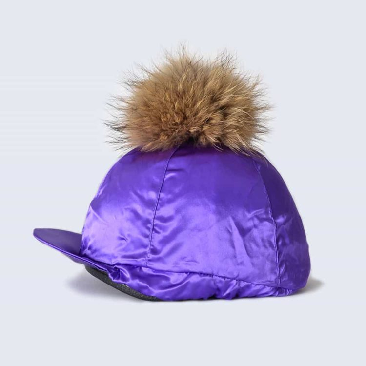 Purple Hat Silk with Brown Fur Pom Pom