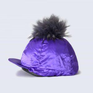 Purple Hat Silk with Grey Fur Pom Pom