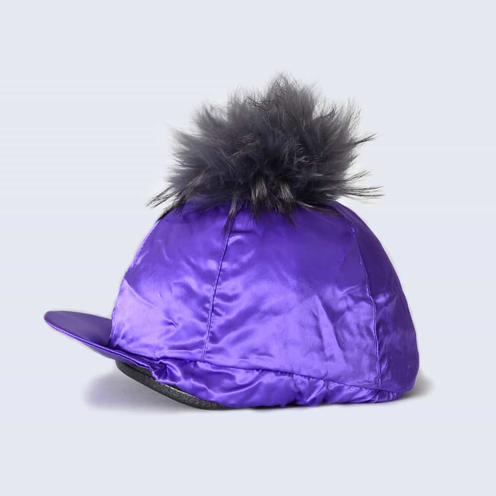 Purple Hat Silk with Grey Fur Pom Pom