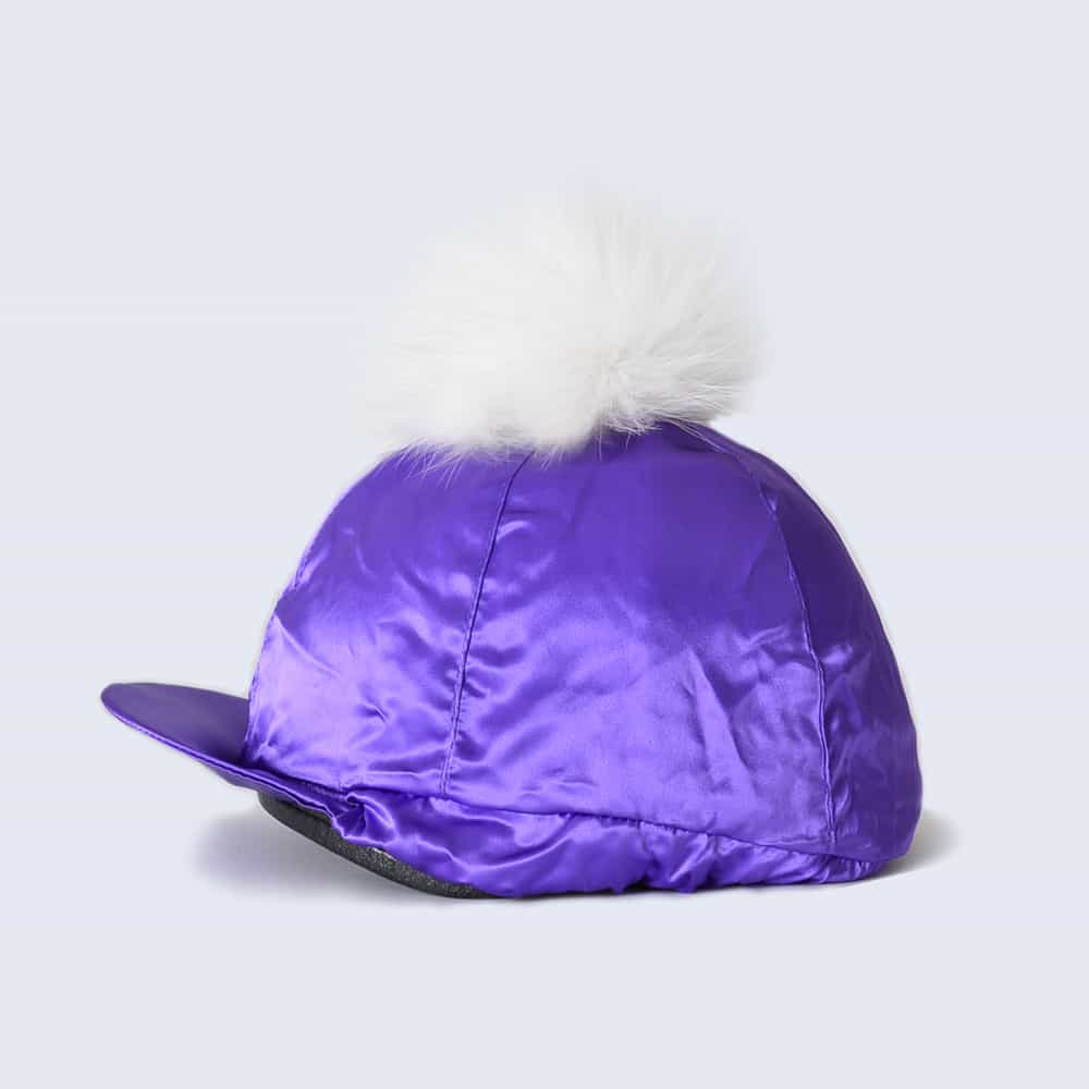 Purple Hat Silk with White Fur Pom Pom