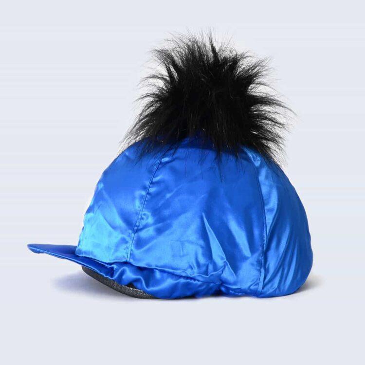 Royal Blue Hat Silk with Black Faux Fur Pom Pom