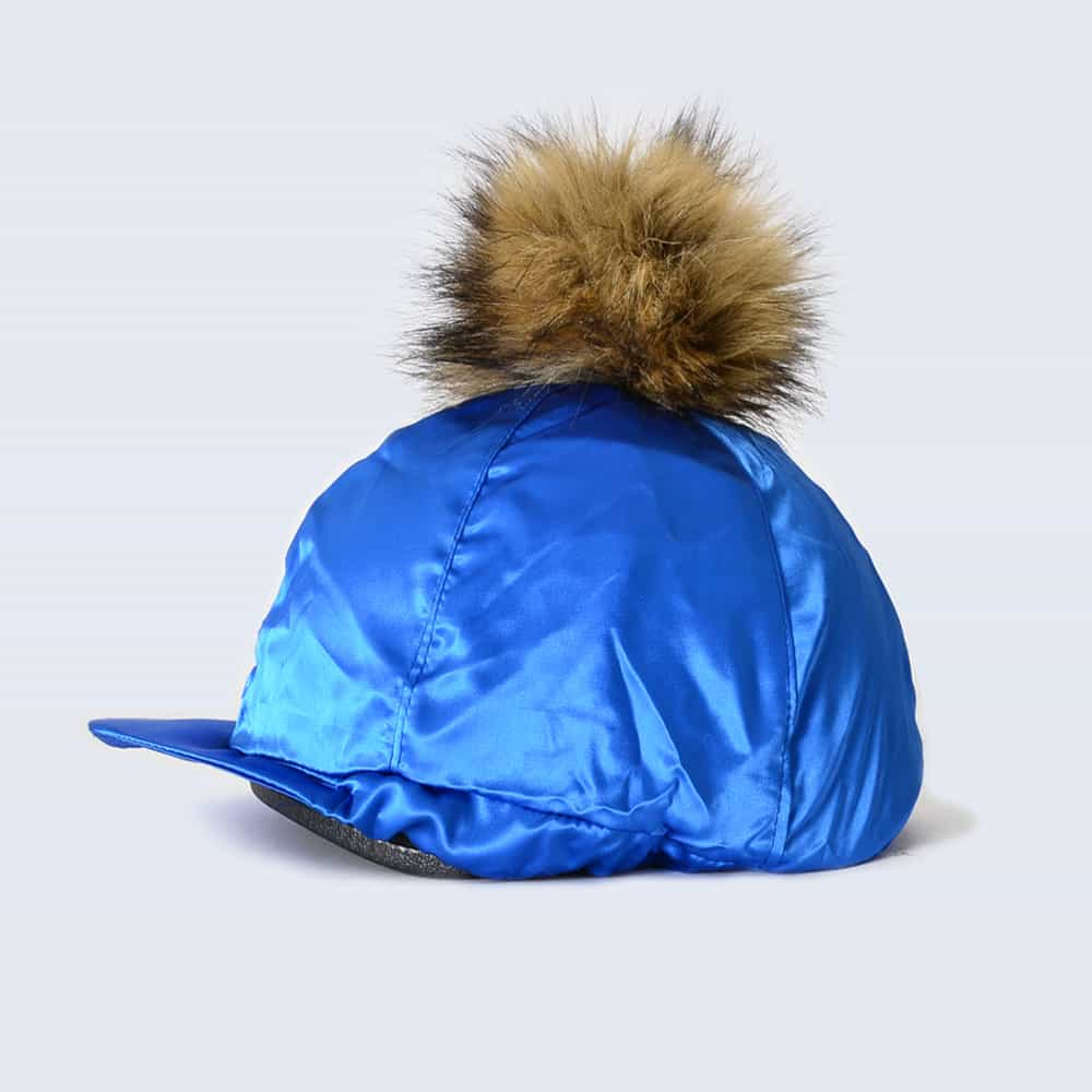 Royal Blue Hat Silk with Brown Faux Fur Pom Pom