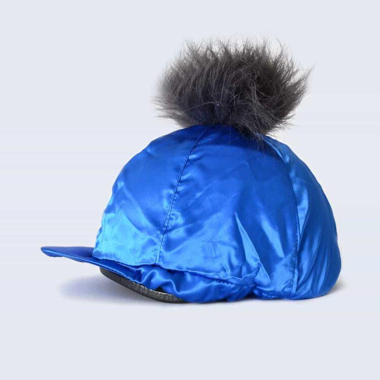 Royal Blue Hat Silk with Grey Faux Fur Pom Pom
