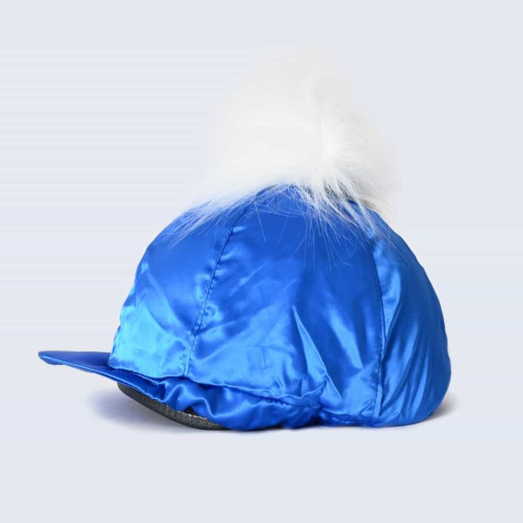 Royal Blue Hat Silk with White Faux Fur Pom Pom