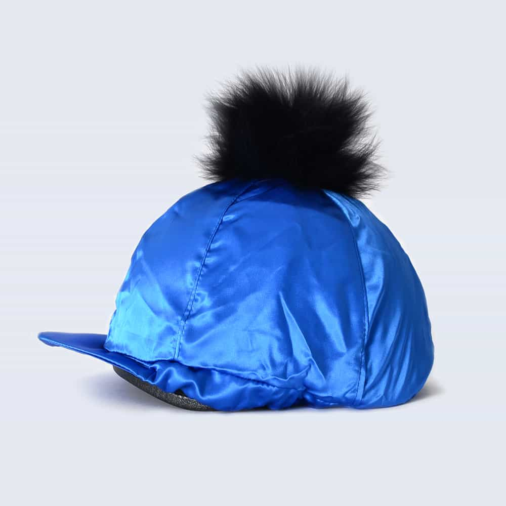 Royal Blue Hat Silk with Black Fur Pom Pom