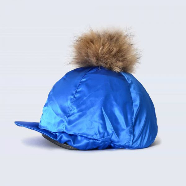 Royal Blue Hat Silk with Brown Fur Pom Pom