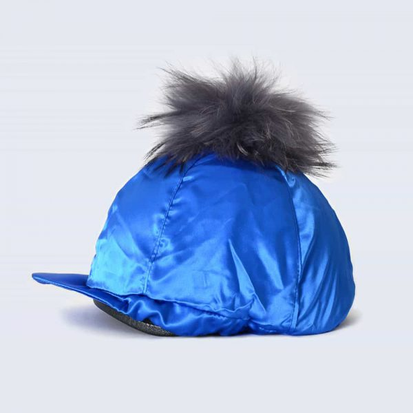 Royal Blue Hat Silk with Grey Fur Pom Pom