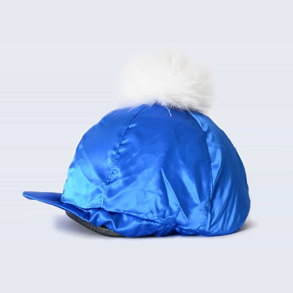 Royal Blue Hat Silk with White Fur Pom Pom