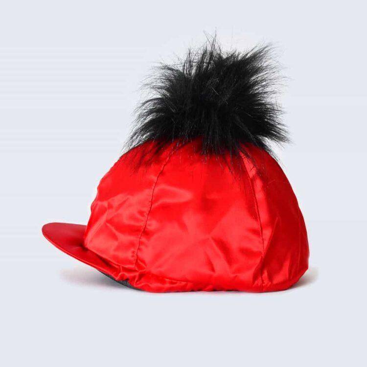 Scarlet Hat Silk with Black Faux Fur Pom Pom