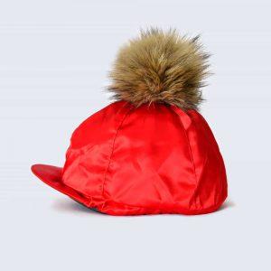 Scarlet Hat Silk with Brown Faux Fur Pom Pom