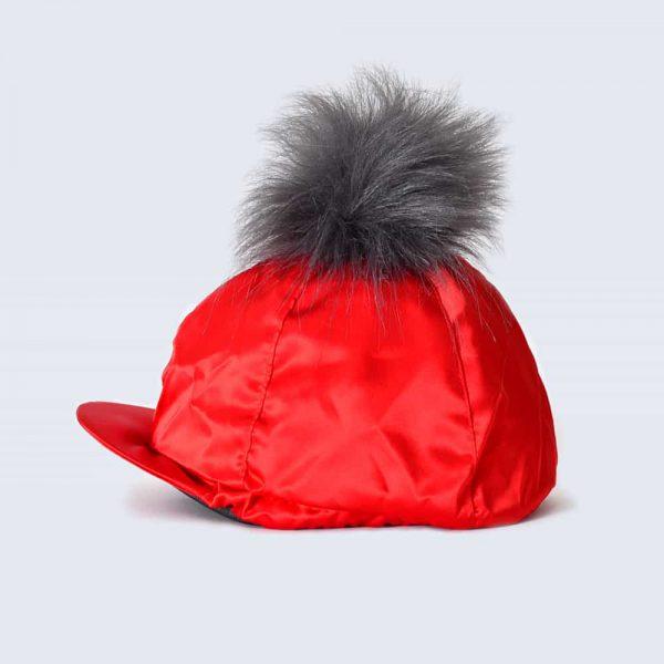 Scarlet Hat Silk with Grey Faux Fur Pom Pom