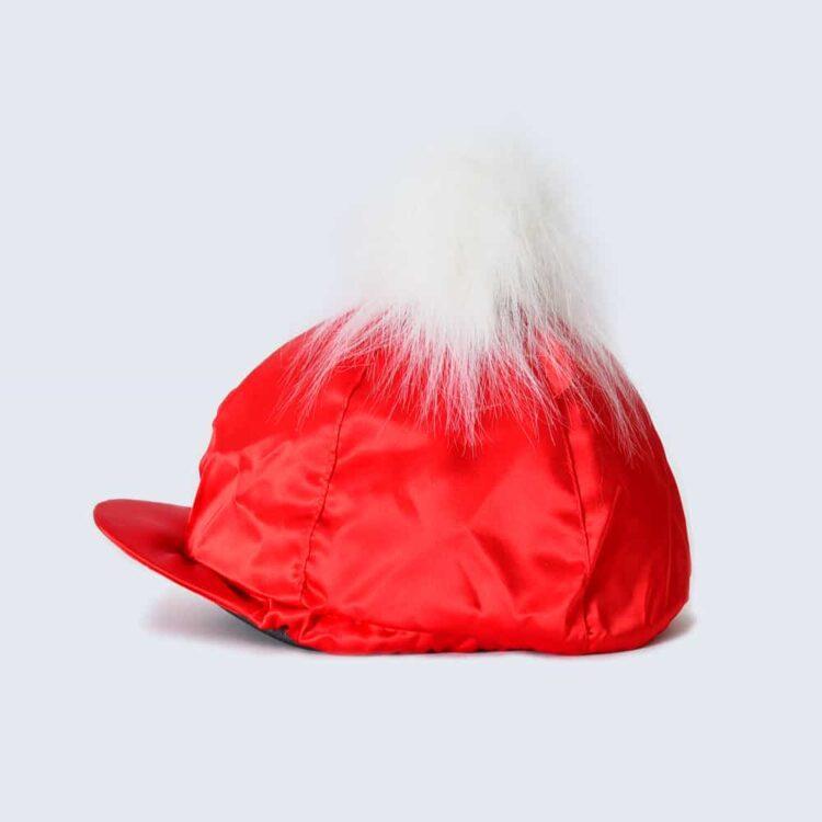 Scarlet Hat Silk with White Faux Fur Pom Pom