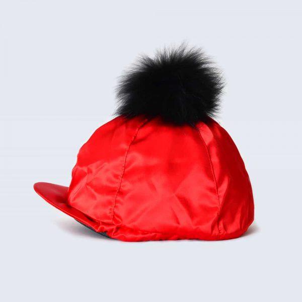 Scarlet Hat Silk with Black Fur Pom Pom