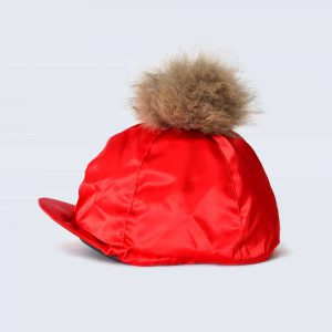 Scarlet Hat Silk with Brown Fur Pom Pom