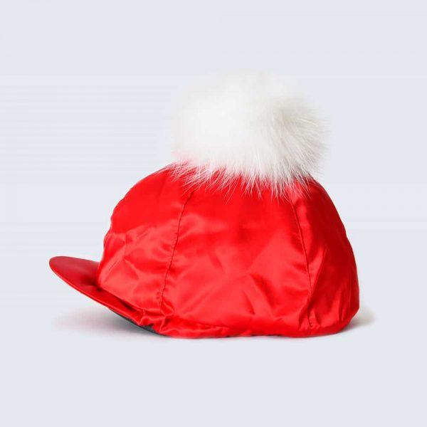 Scarlet Hat Silk with White Fur Pom Pom
