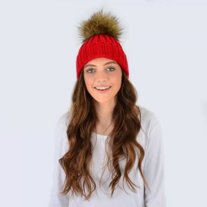 Scarlet Hat with Brown Faux Fur Pom Pom