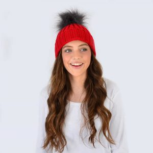 Scarlet Hat with Grey Faux Fur Pom Pom