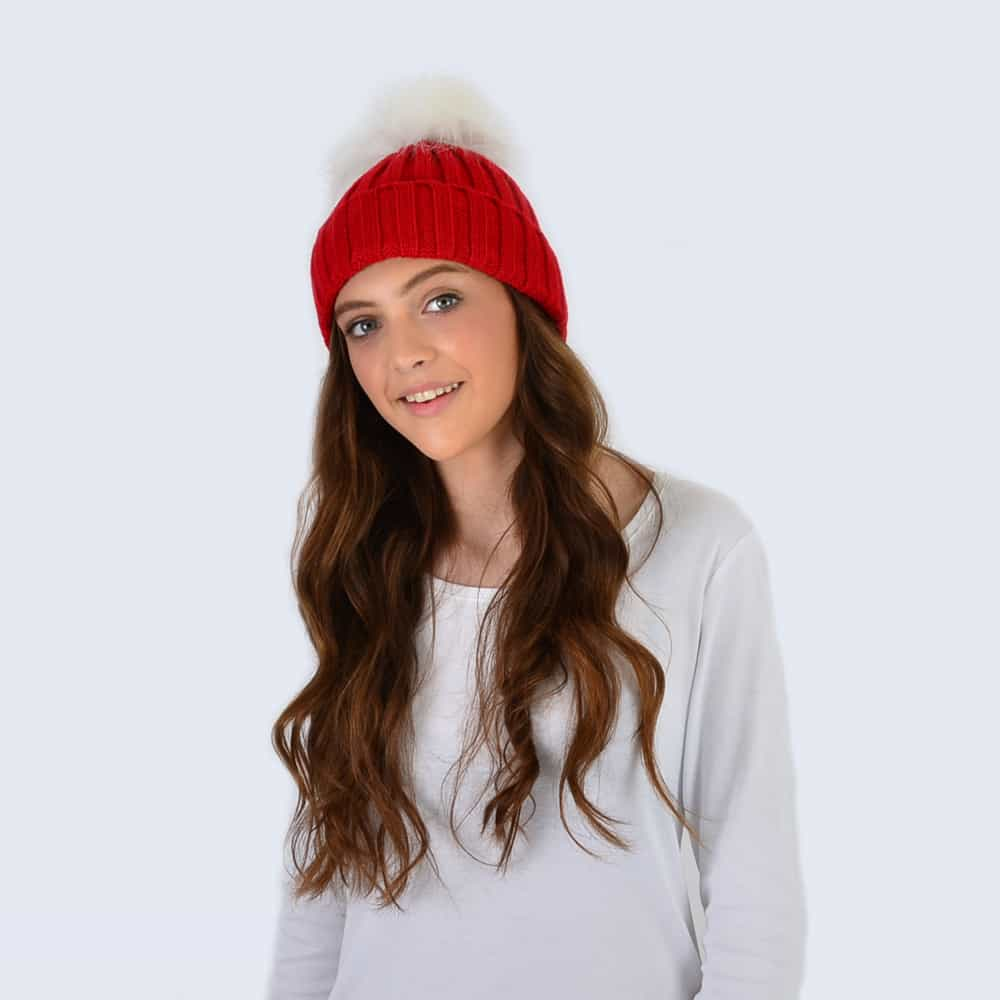 Scarlet Hat with White Faux Fur Pom Pom