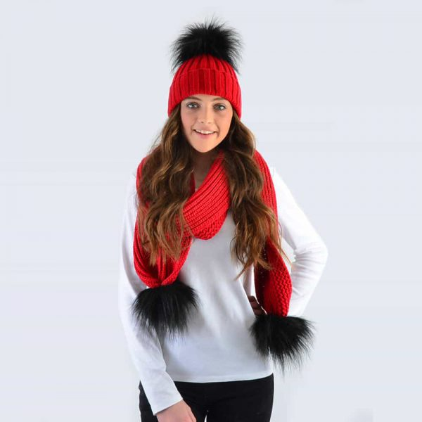 Scarlet Set with Black Faux Fur Pom Poms