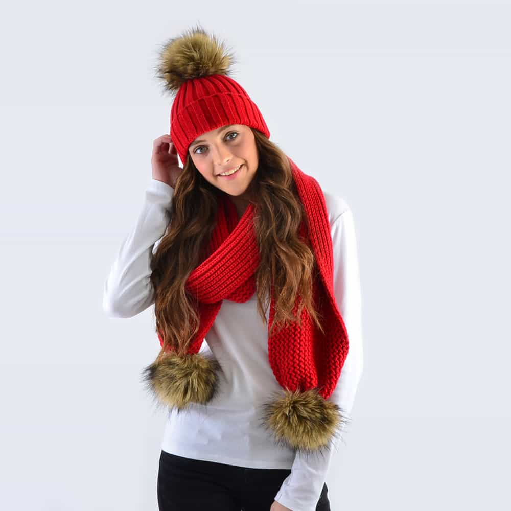 Scarlet Set with Brown Faux Fur Pom Poms