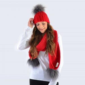 Scarlet Set with Grey Faux Fur Pom Poms