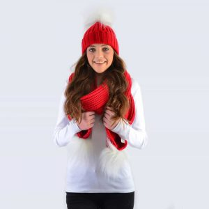 Scarlet Set with White Faux Fur Pom Poms