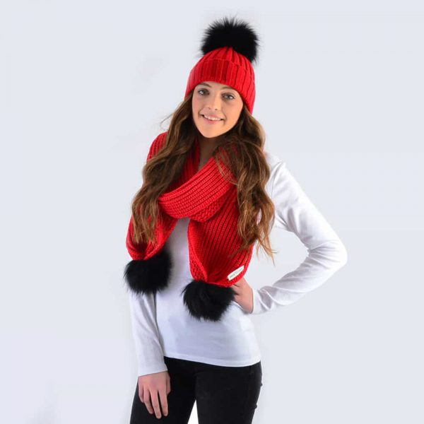 Scarlet Set with Black Fur Pom Poms