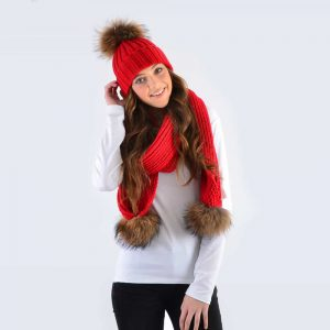 Scarlet Set with Brown Fur Pom Poms