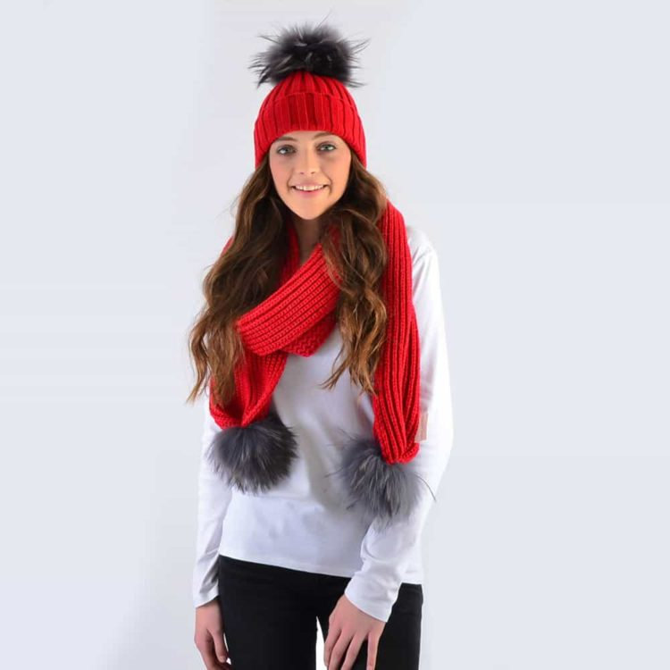 Scarlet Set with Grey Fur Pom Poms